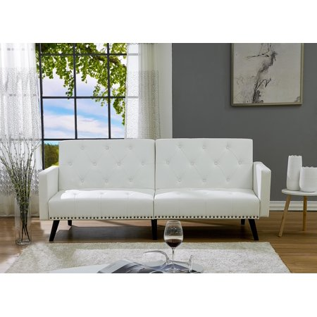 Naomi Home Convertible Tufted Futon Sofa-Color:White,Fabric:Faux Leather