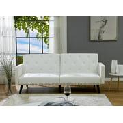 Naomi Home Convertible Tufted Futon Sofa-Color:White,Fabric:Faux Leather