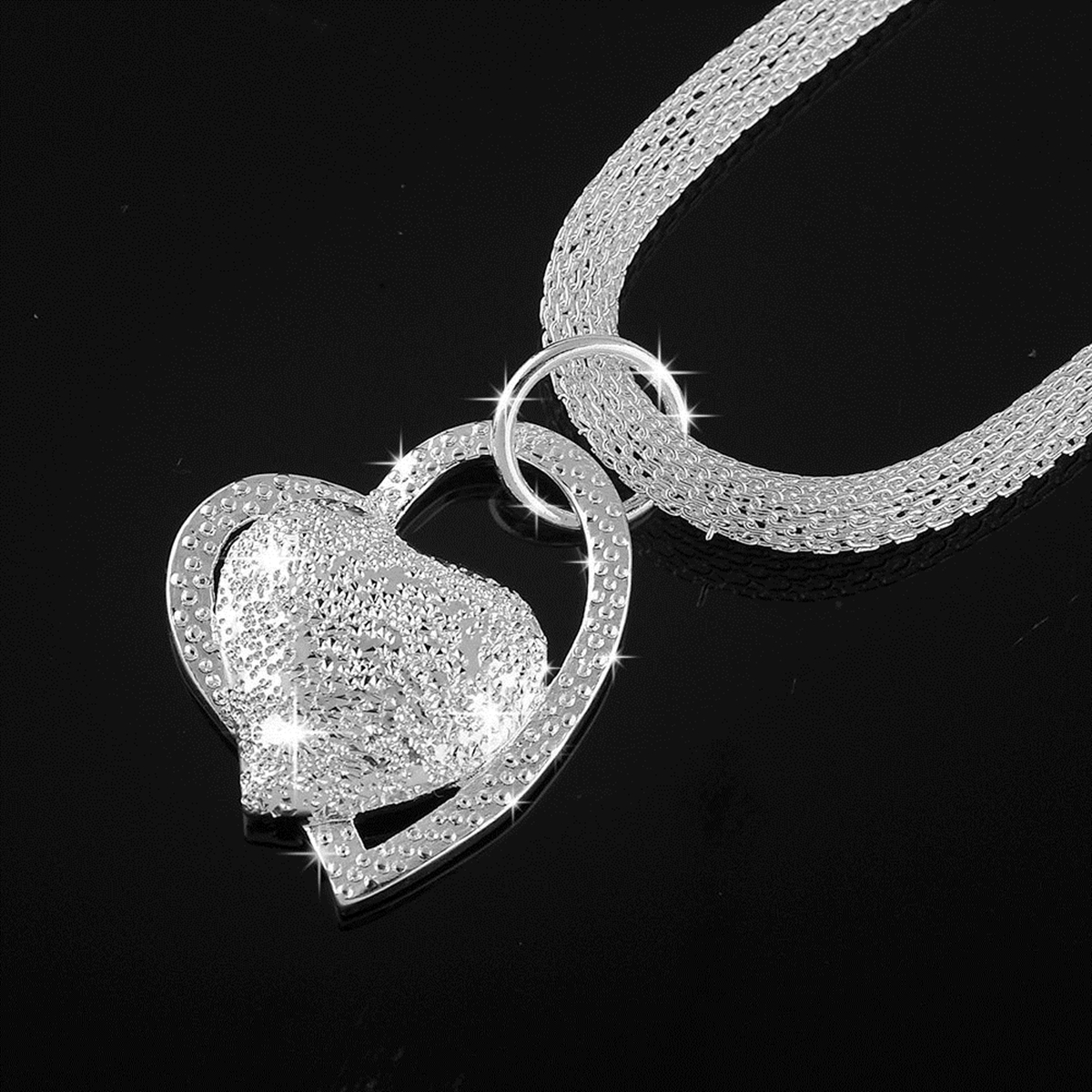 Fashion 925 sterling Silver Charm Heart Pendant Beautiful women Necklace Jewelry