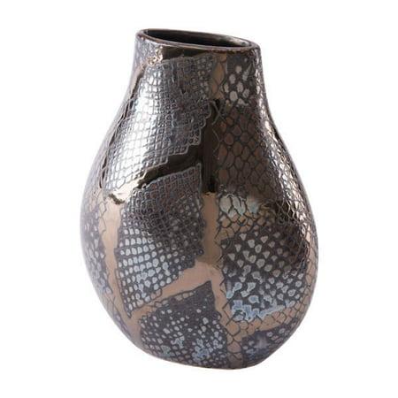 Snake Skin Small Vase Metallic Black & Brown
