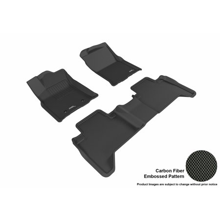 3D MAXpider 2016-2017 Toyota Tacoma Front & Second Row Set All Weather Floor Mats in Black with Carbon Fiber (2016 Toyota Tacoma All Weather Floor Mats)