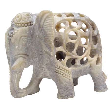 Intricately Hand Carved Elephant Mom With Baby Stone Sculpture ()