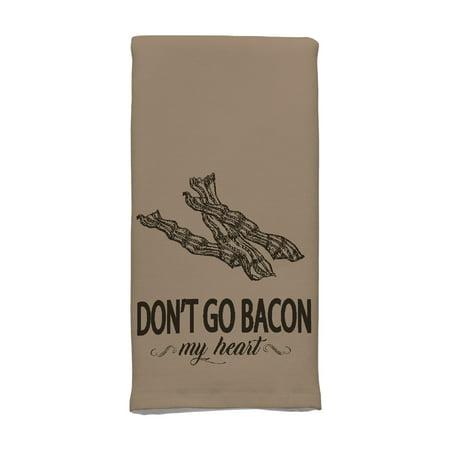 Mainstays Dual-Purpose Cotton Kitchen Towel, Dont Go Bacon My Heart, Tan, 1-Piece