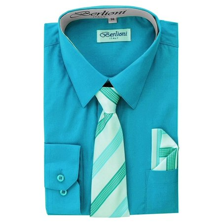 Berlioni Kids Boys Long Sleeve Dress Shirt With Tie and Hanky  Turquoise](Kids Dress Shorts)