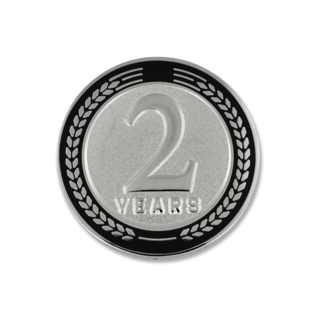 PinMart's 2 Years of Service Award Employee Recognition Gift Lapel Pin - Black Corporate Employee Recognition Acrylic