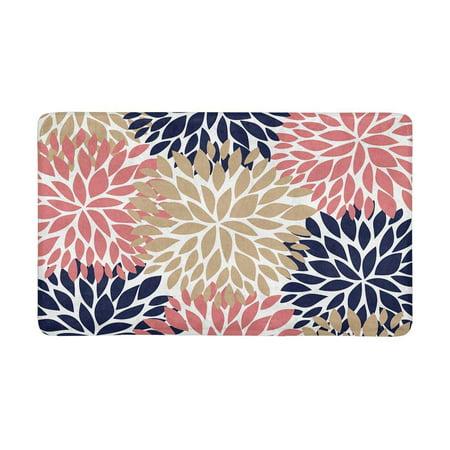 MKHERT Dahlia Pinnata Flower Coral Beige and Navy Blue Doormat Rug Home Decor Floor Mat Bath Mat 23.6x15.7 inch ()