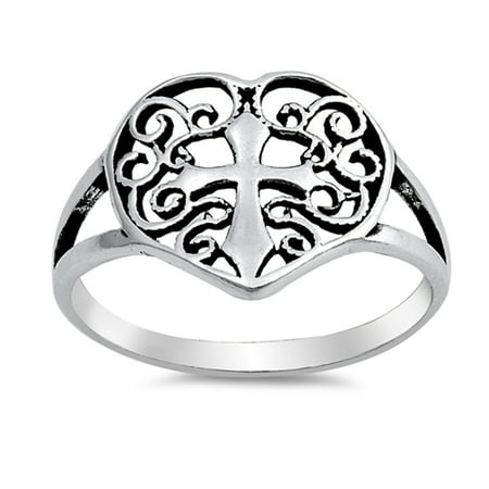 Celtic Filigree Heart Cross Promise Ring New 925 Sterling Silver Band Size 8 Cross 925 Silver Ring