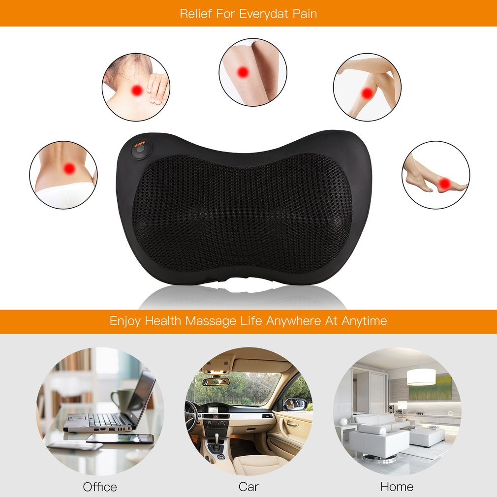Ergonomic Design Safe Portable Car Pillow Massager with Overheat Protection