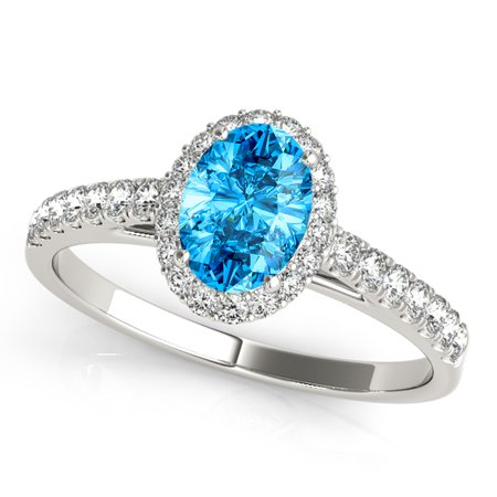 1.75 Ct Diamond & Oval Shaped Blue Topaz Engagement/Wedding Ring - 10K Gold