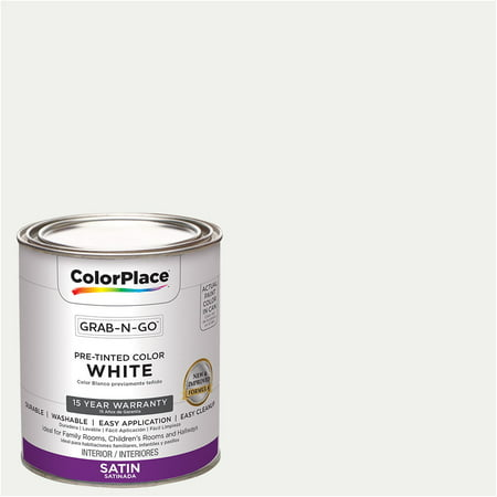 ColorPlace Pre Mixed Ready To Use, Interior Paint, White, Satin Finish, Quart