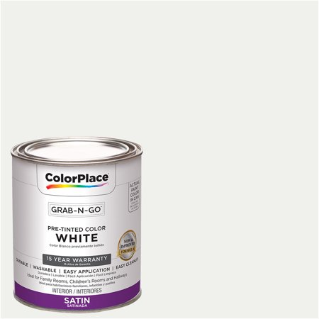 ColorPlace Pre Mixed Ready To Use, Interior Paint, White, Satin Finish, Quart Interior Satin Latex Wall Paint