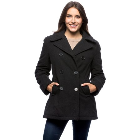 Women's Classic Pea Coat Black Womens Peacoat