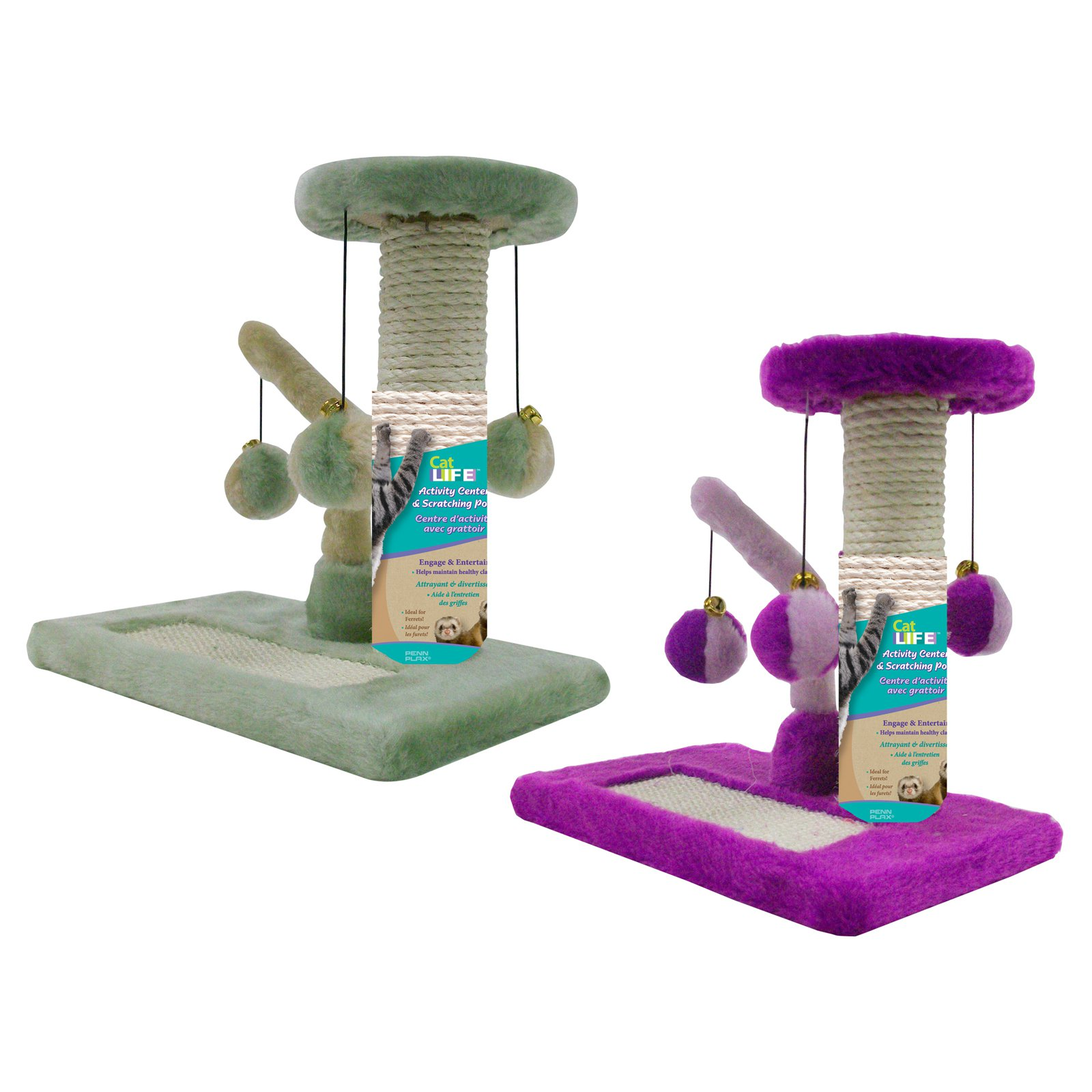 Penn-Plax Sisal Cat Scratching Pad & Tower Cat Toy