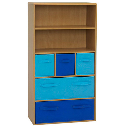 4D Concepts Kids Bookshelf with Fabric Storage Bins, Multiple Finishes