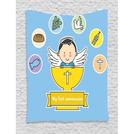 - Religious Tapestry, My First Ritual Sign Boy Grapes Cup Bread Candle and Fish Wings Artwork Print, Wall Hanging for Bedroom Living Room Dorm Decor, Multicolor, by Ambesonne