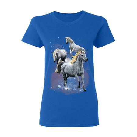 Horse Womens Shirt - Wild Galaxy Unicorns Nebula Women's T-shirt Space Horse Tee