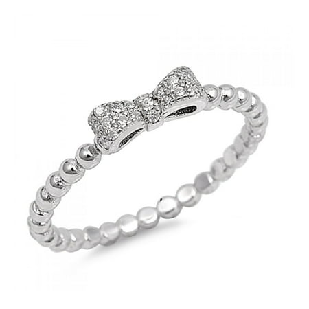 925 Sterling Silver Bow Tie Cubic Zirconia Ring