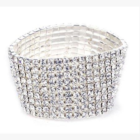 Outtop Elastic Stretchy 8 Row Rhinestone Crystal Bracelet Bangle Bridal Women ()
