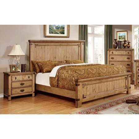 Furniture of America Moira I Country Style 2-Piece Weathered Elm Bedroom  Set, Multiple Sizes