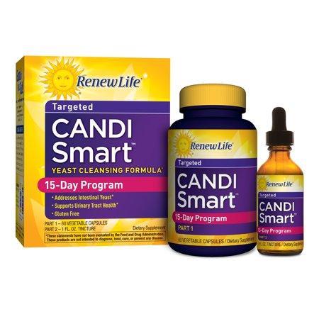 Renew Life, CandiGONE, programme de nettoyage de levure puissant, 60 capsules végétales, 1 fl oz Colorant