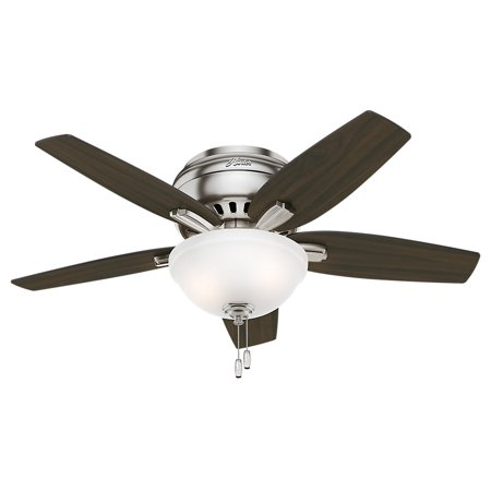"""42"""" Hunter Newsome Low Profile Bowl Light Brushed Nickel Ceiling Fan with Light Kit"""