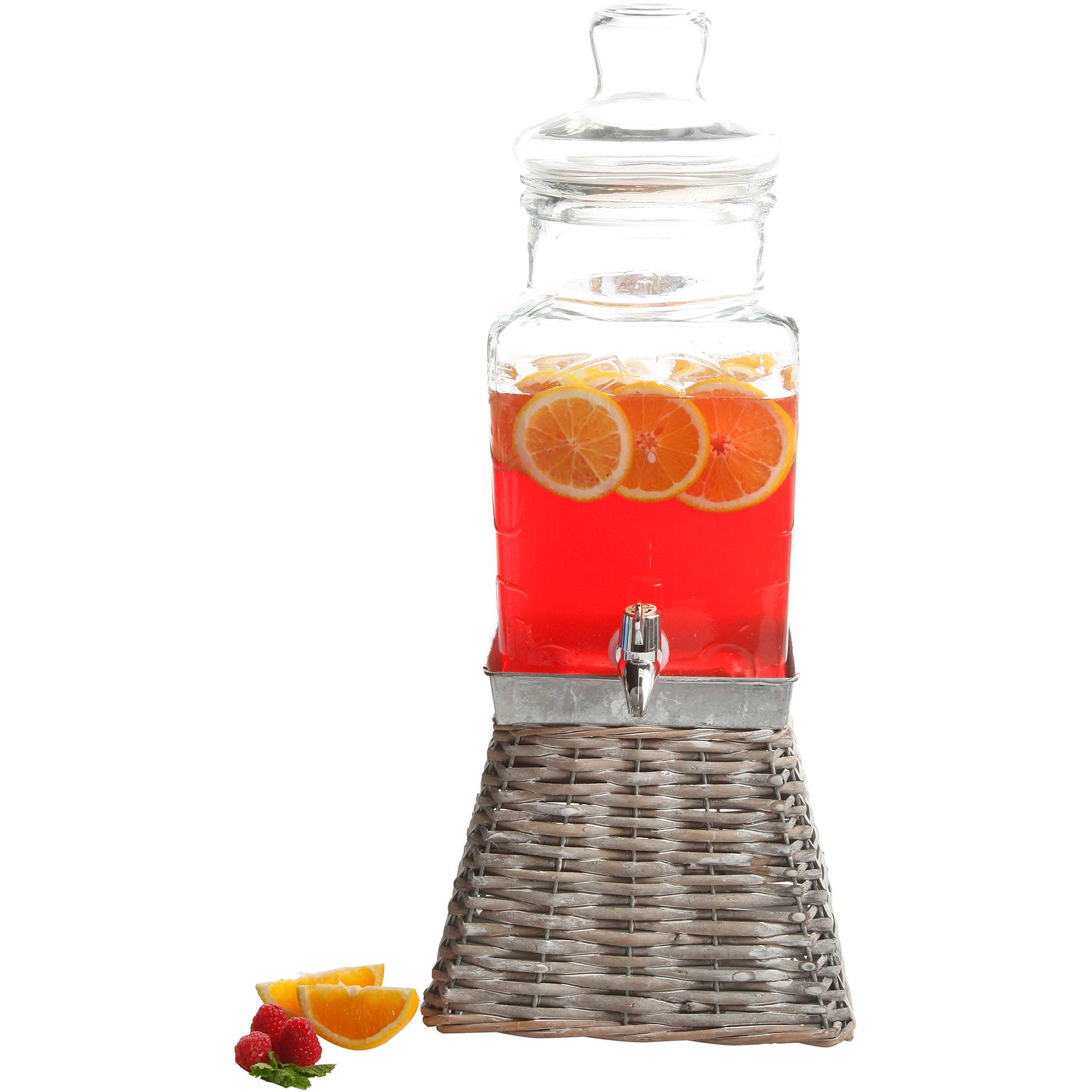 Gibson Home Tolleson Glass Drink Dispenser with Square Basket Base, 1.32 Gallons, Square Glass
