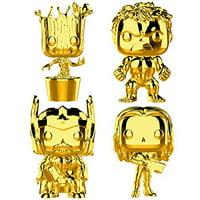 Funko Marvel: Pop! Marvel Studios 10 Gold Chrome Collectors Set 3 - Groot, Hulk, Thor, Gamora Toy