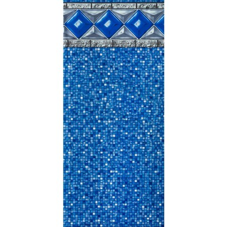 SmartLine 15-Foot Round Unibead Crystal Tile Above Ground Swimming Pool Liner - 48-Inch Wall Height - 25