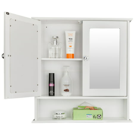 Wall Mounted Storage Cabinet, Wooden Bathroom Cabinet Organizer, Toilet Storage Cabinet with Double Mirror Doors and Shelves, Utility Storage Shelf for Living Room, Bedroom, Kitchen, White, W6323 ()