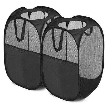 Magicfly Pop-Up Hamper, Foldable Mesh Hamper with Reinforced Carry Handles, Laundry Hamper Basket Black, Pack of 2