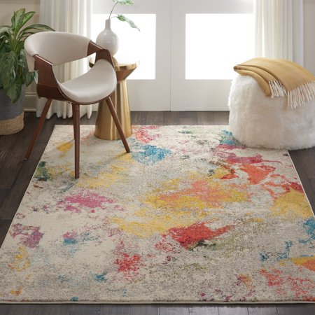 Nourison Celestial Colorful Abstract Ivory Multicolor Area