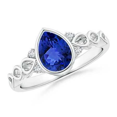 December Birthstone Ring - Bezel Set Vintage Pear Tanzanite Ring with Diamond Accents in 14K White Gold (8x6mm Tanzanite) - SR0561T-WG-AAA-8x6-12.5