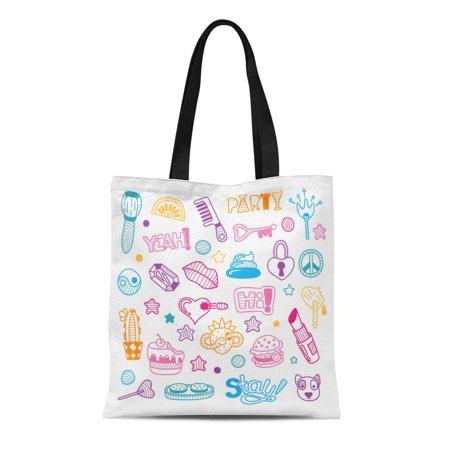 SIDONKU Canvas Tote Bag Colorful Key Doodle Girly Party and Celebration Clipart Lineart Reusable Shoulder Grocery Shopping Bags Handbag