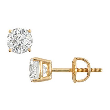 14K Yellow Gold Round Diamond Stud Earrings 1.25 CT. TW.