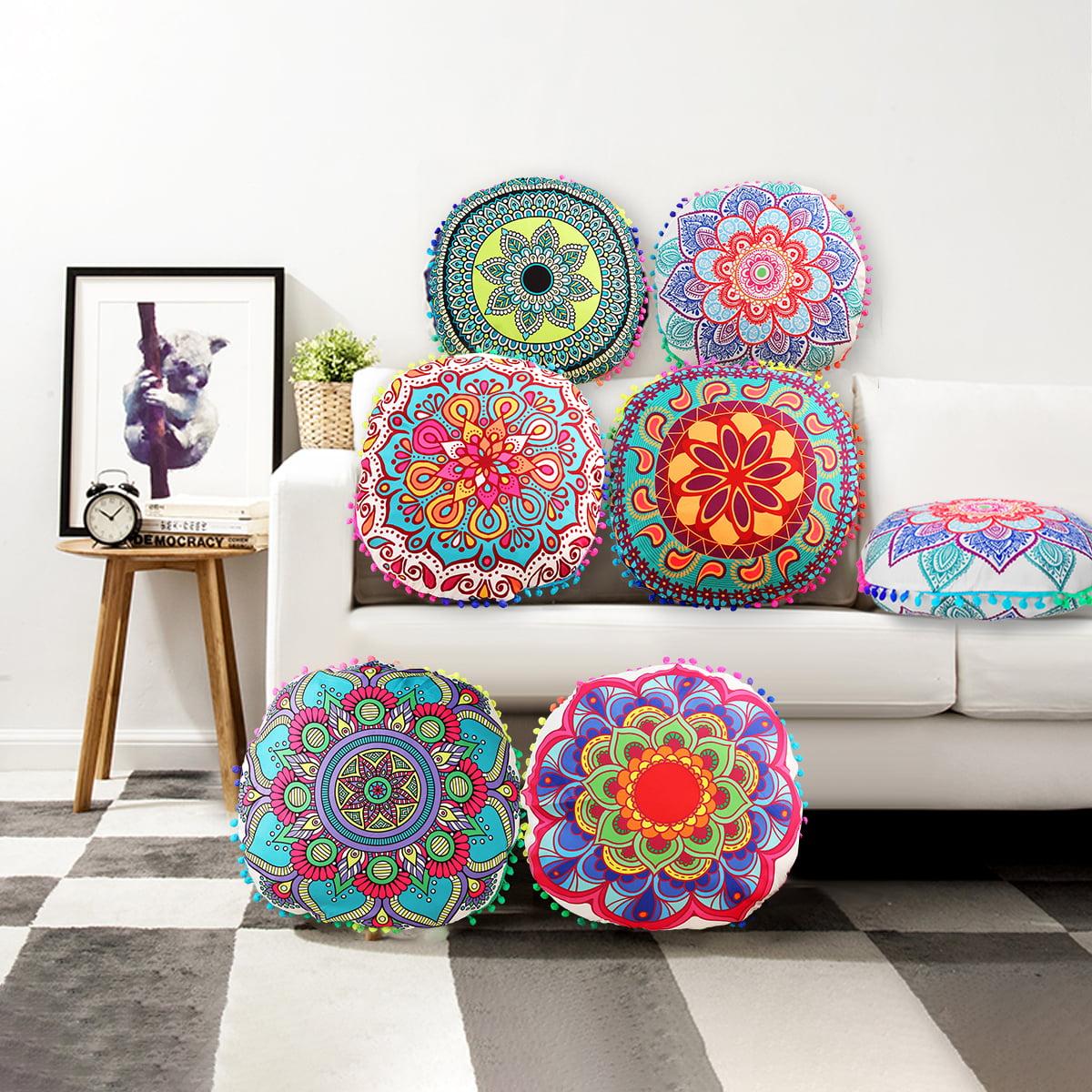 17 X 17 Popular Handicrafts Mandala Floor Pillows Cover Indian