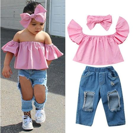 b9c00e495baa81 Fashion Toddler Kids Girls Off Shoulder Tops Denim Pants Jeans 2Pcs Summer  Outfits Set 1-6Y - Walmart.com