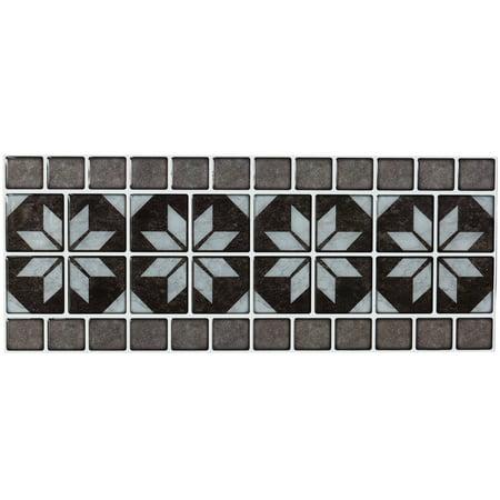 "10 Sheets Peel and Stick Backsplash Tile Border Waist Line Retro Mosaic Wall Stickers Kitchen Cabinet Toilet 12.4"" x 5"""