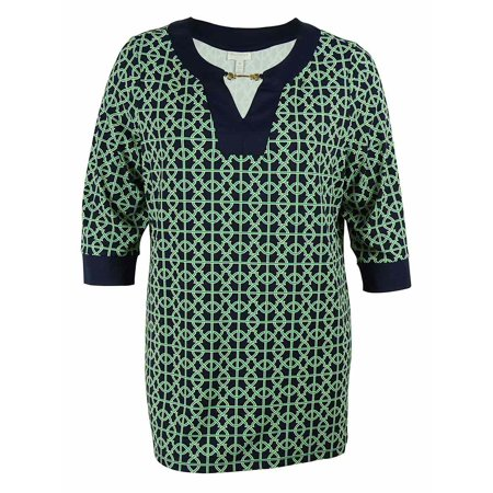 Charter Club Women's Keyhole Scoop Neck Print Jersey Tunic