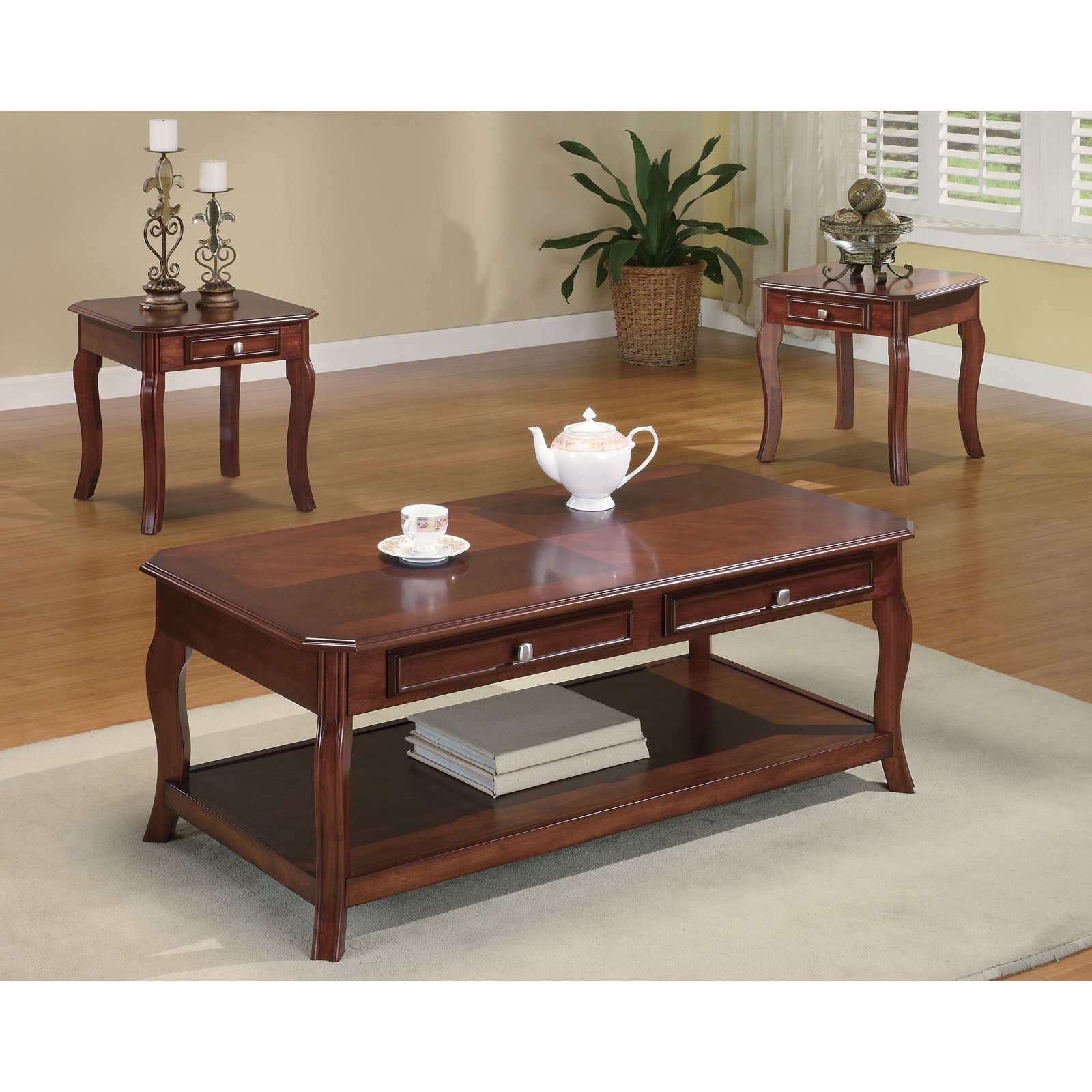 Coaster 3-Piece Table Set, Light Warm Bourbon Finish