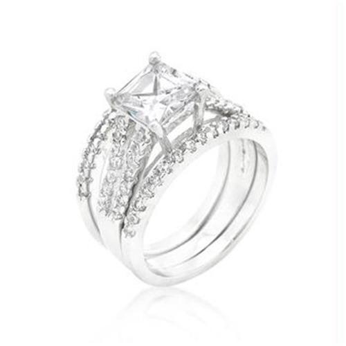 Princess Cut CZ Triple Bridal Set, <b>Size :</b> 06