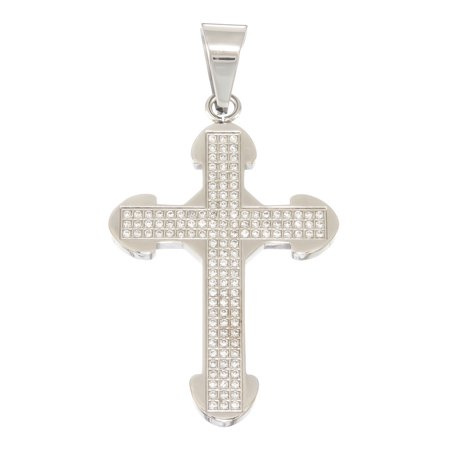 Pave Cross Charm - Solid Stainless Steel Cross Pendant Charm with Micro Pave Prong-Set CZ Stones