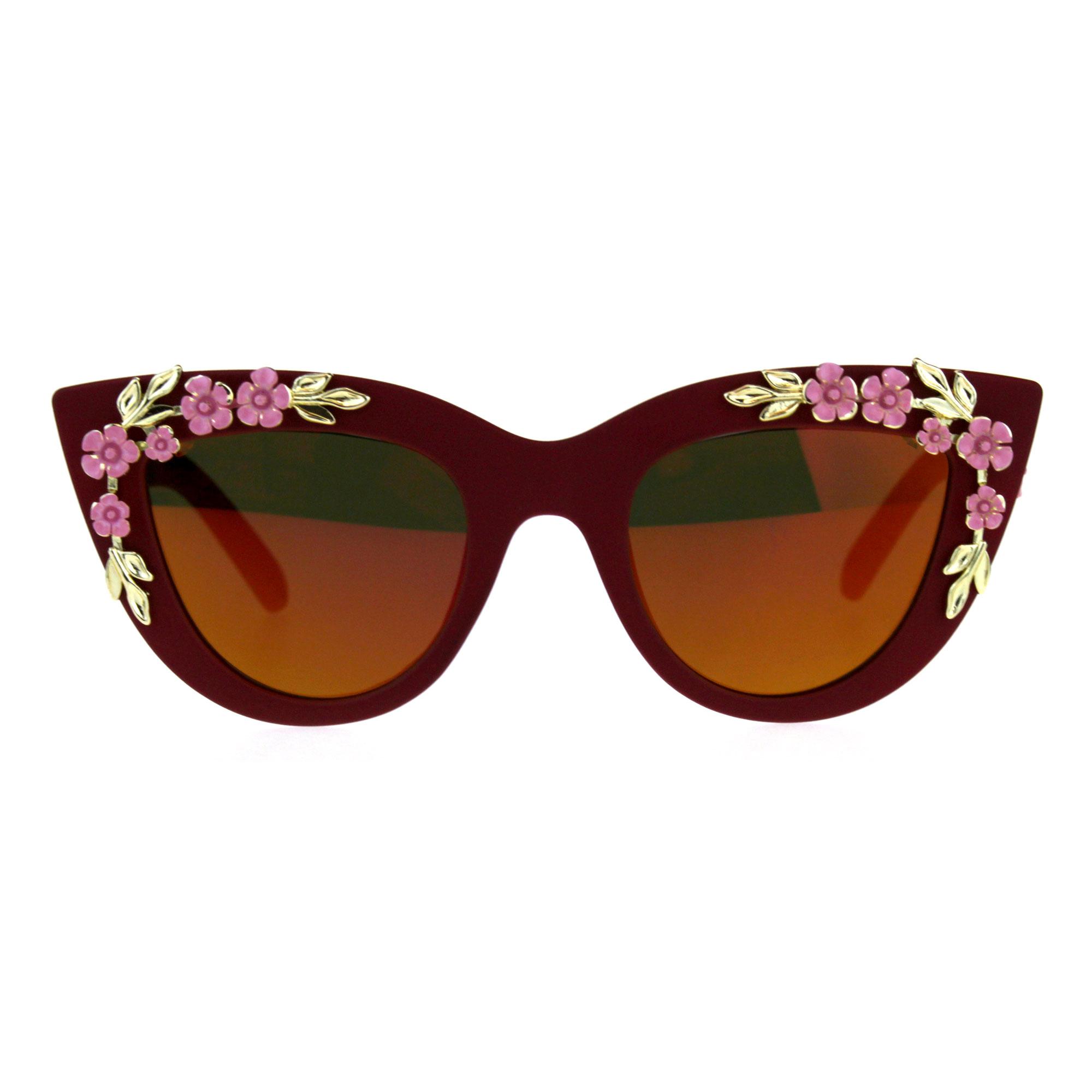Womens Oversize Cat Eye Mirror Lens Flower Jewel Sunglasses Red Orange