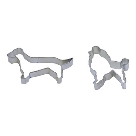 """R&M 5"""" Dachshund and 3"""" Poodle Dog Cookie Cutter, Set of 2, Durable, heavy duty tinplate steel By RM"""