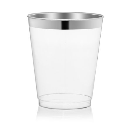 Host & Porter Silver Rim Plastic Cups, 10oz, 25 Count](Frosted Plastic Cups)
