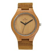 Men's Bamboo Natural Wooden Watch with Genuine Leather Strap Quartz Analog with Gift Box