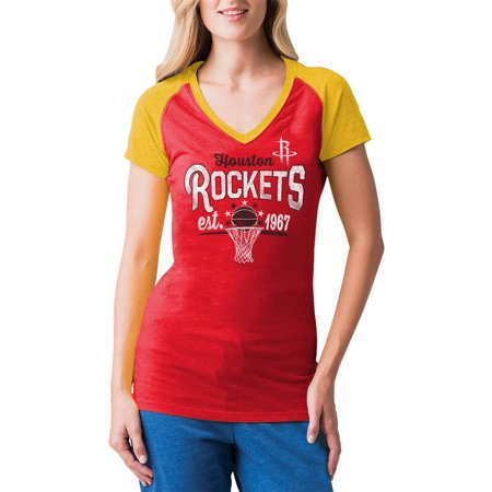 NBA Houston Rockets Women's Short Sleeve Raglan V Neck Tee Adidas Houston Rockets Short Sleeve T-shirt