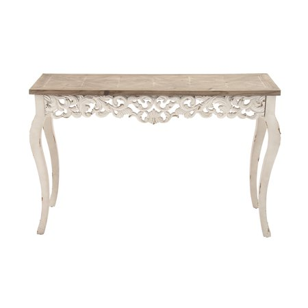 Decmode Traditional Carved Wooden Console Table White