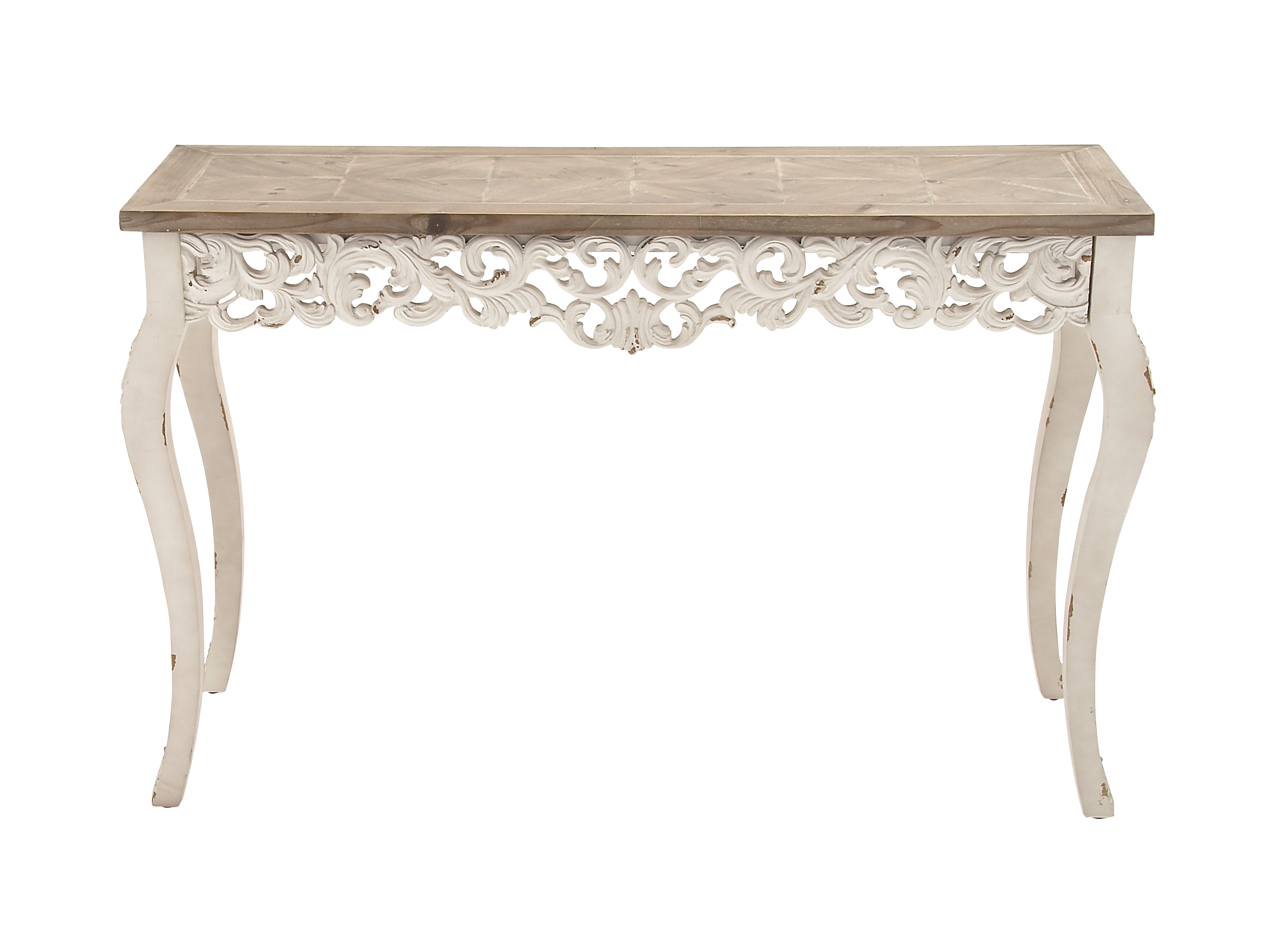 Delicieux Decmode Traditional Carved Wooden Console Table, White
