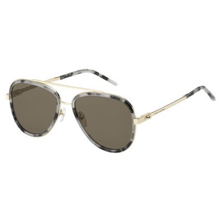 136 Glasses - Marc Jacobs Women's Marc136s Aviator Sunglasses, Gray Havana/Brown, 56 mm