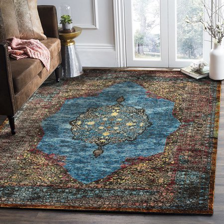 LR Home Gala Galaxy Turkish Medallion Blue Turquoise Multi Indoor Accent or Area Rug (4' x 6') ()
